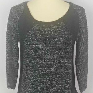 One World Black and White Open Weave Sweater PS